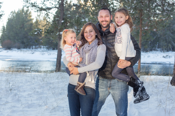 Smiling Wasilla, AK family who just visited their dentist's office.